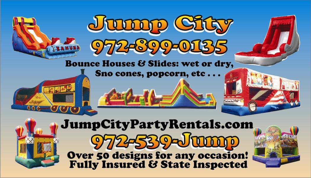 jump city bounce houses, jump city prices for the rentals of water slides and bounce houses.